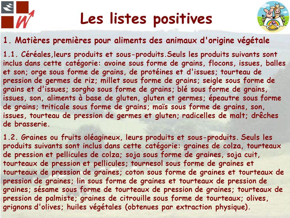 Les listes positives 1. Matières premières pour aliments des animaux d origine végétale.