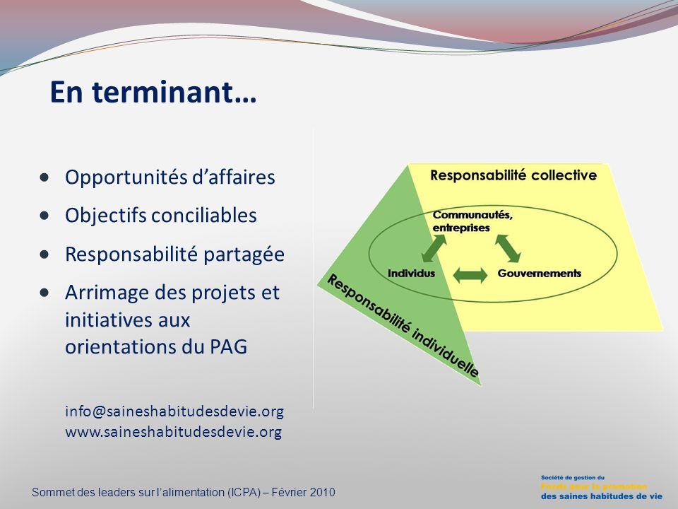 En terminant… Opportunités d'affaires Objectifs conciliables