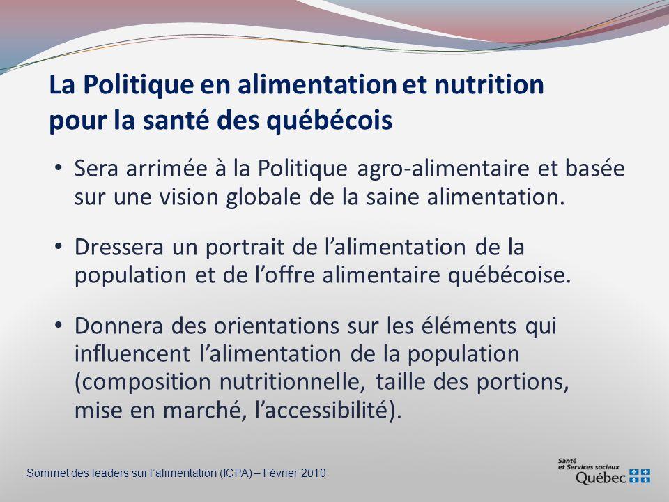 La Politique en alimentation et nutrition pour la santé des québécois