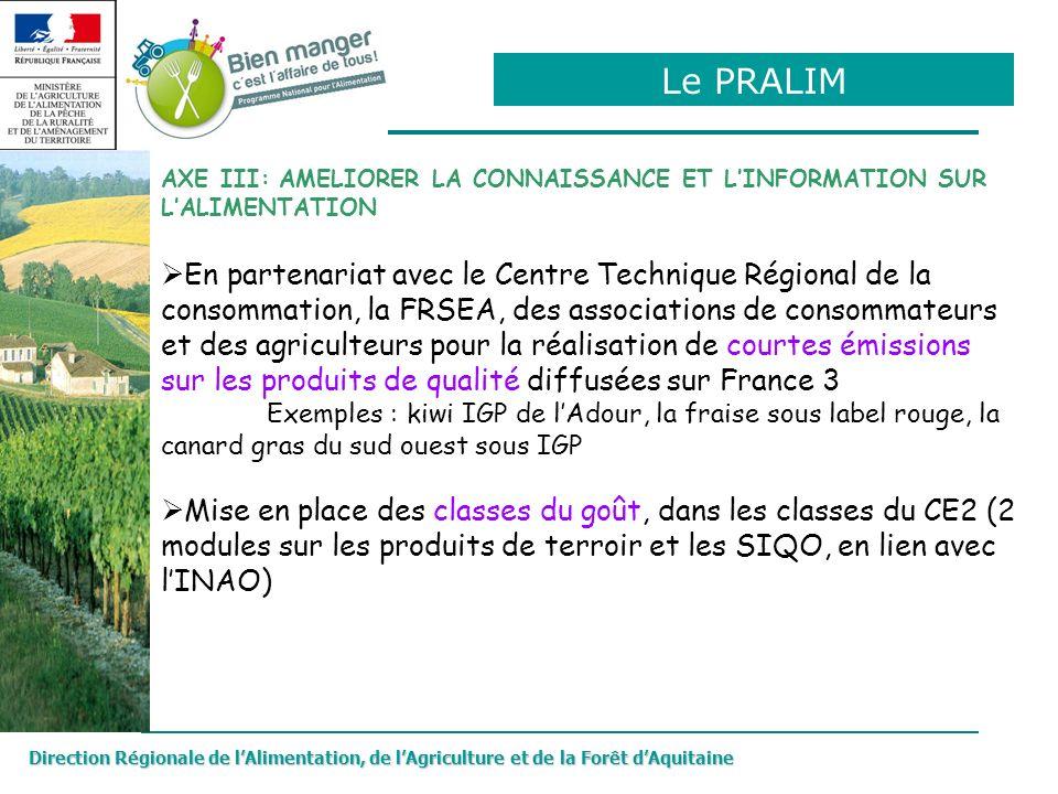 Le PRALIM AXE III: AMELIORER LA CONNAISSANCE ET L'INFORMATION SUR L'ALIMENTATION.