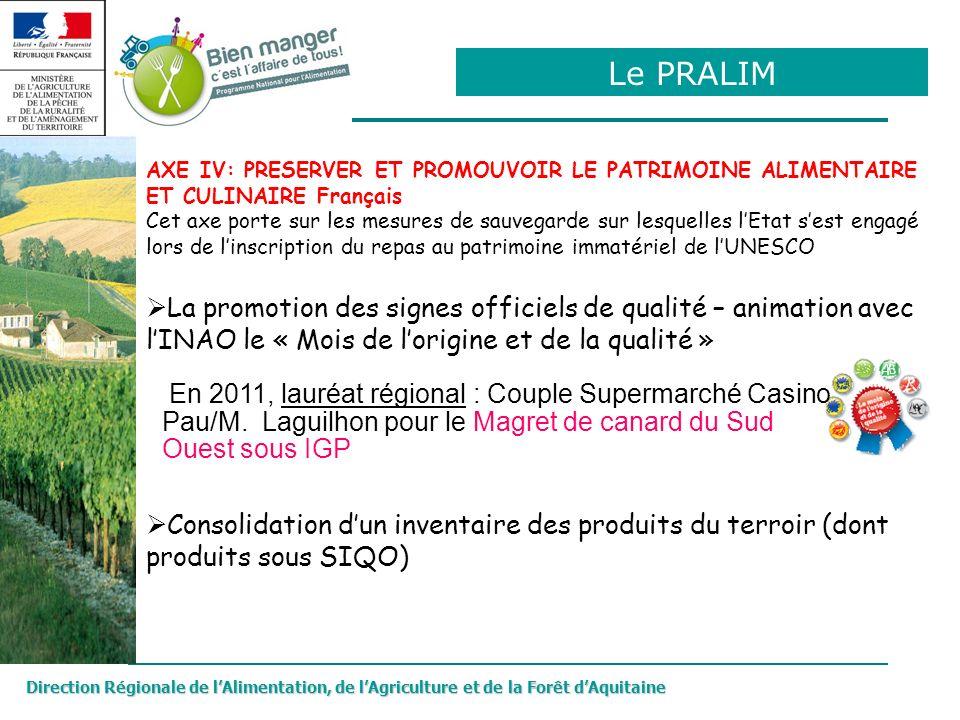 Le PRALIM AXE IV: PRESERVER ET PROMOUVOIR LE PATRIMOINE ALIMENTAIRE ET CULINAIRE Français.