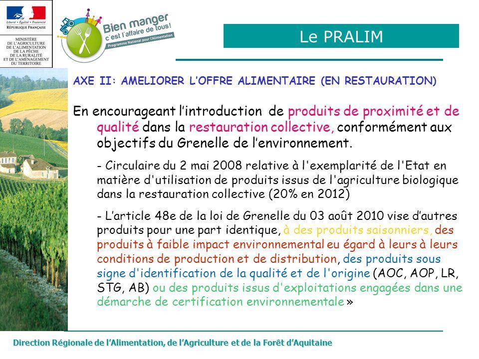 Le PRALIM AXE II: AMELIORER L'OFFRE ALIMENTAIRE (EN RESTAURATION)