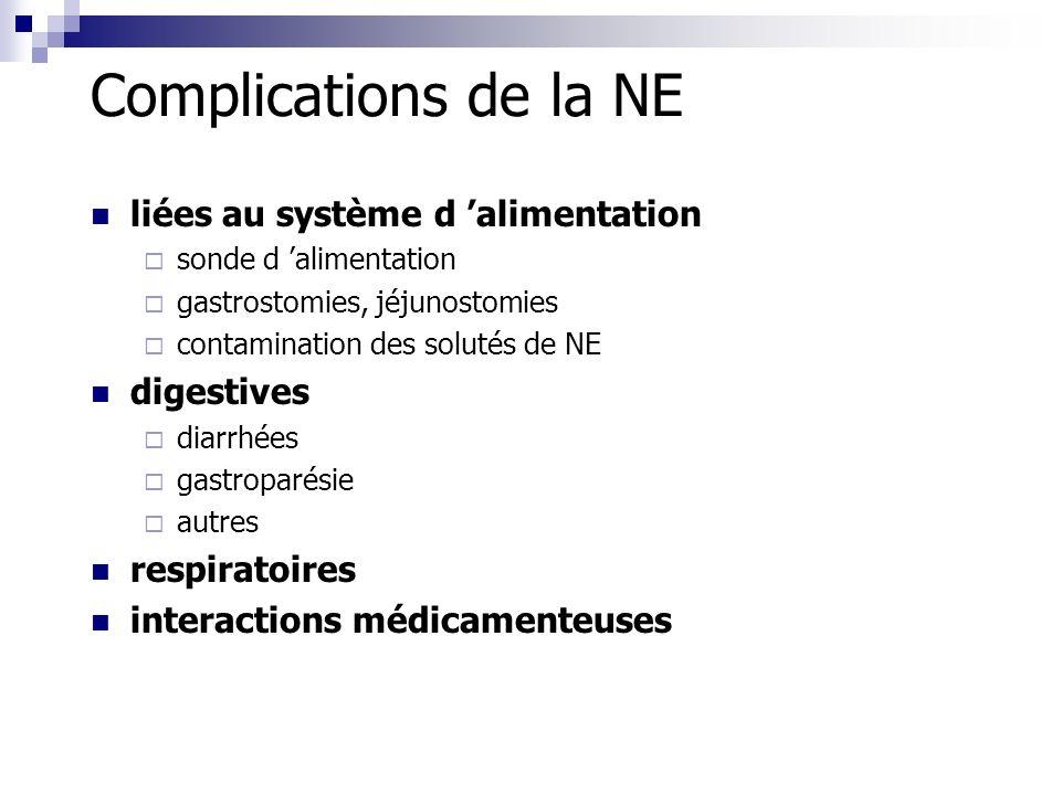 Complications de la NE liées au système d 'alimentation digestives