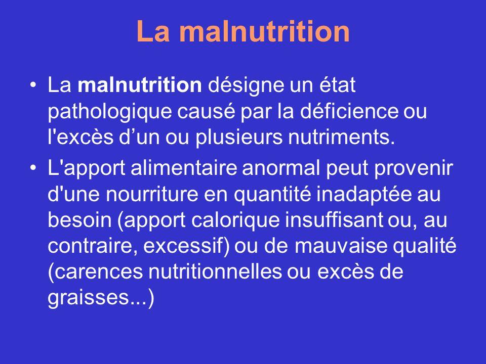 La malnutrition La malnutrition désigne un état pathologique causé par la déficience ou l excès d'un ou plusieurs nutriments.