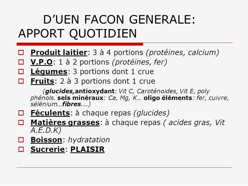 D'UEN FACON GENERALE: APPORT QUOTIDIEN
