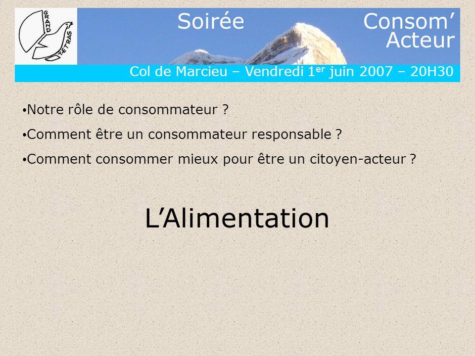 L'Alimentation Col de Marcieu – Vendredi 1er juin 2007 – 20H30