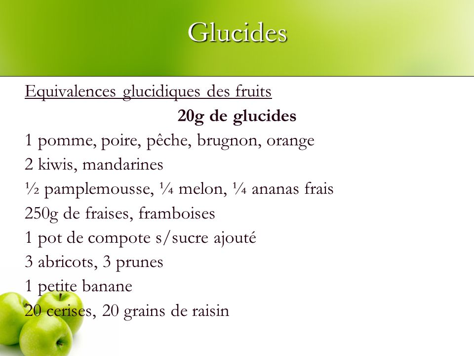 Glucides Equivalences glucidiques des fruits 20g de glucides