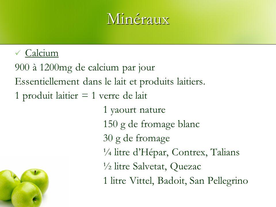 Minéraux Calcium 900 à 1200mg de calcium par jour