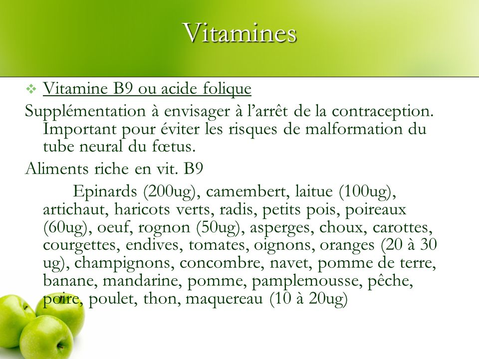 Vitamines Vitamine B9 ou acide folique