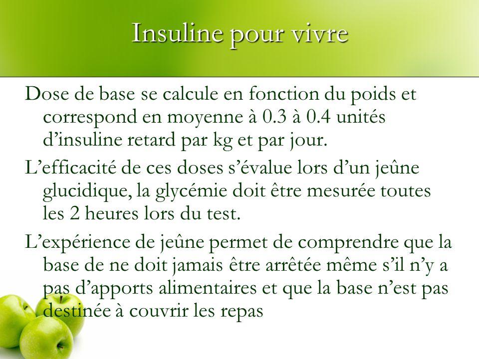 Insuline pour vivre Dose de base se calcule en fonction du poids et correspond en moyenne à 0.3 à 0.4 unités d'insuline retard par kg et par jour.