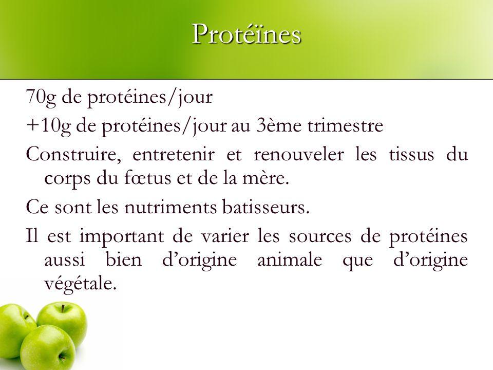 Protéïnes 70g de protéines/jour