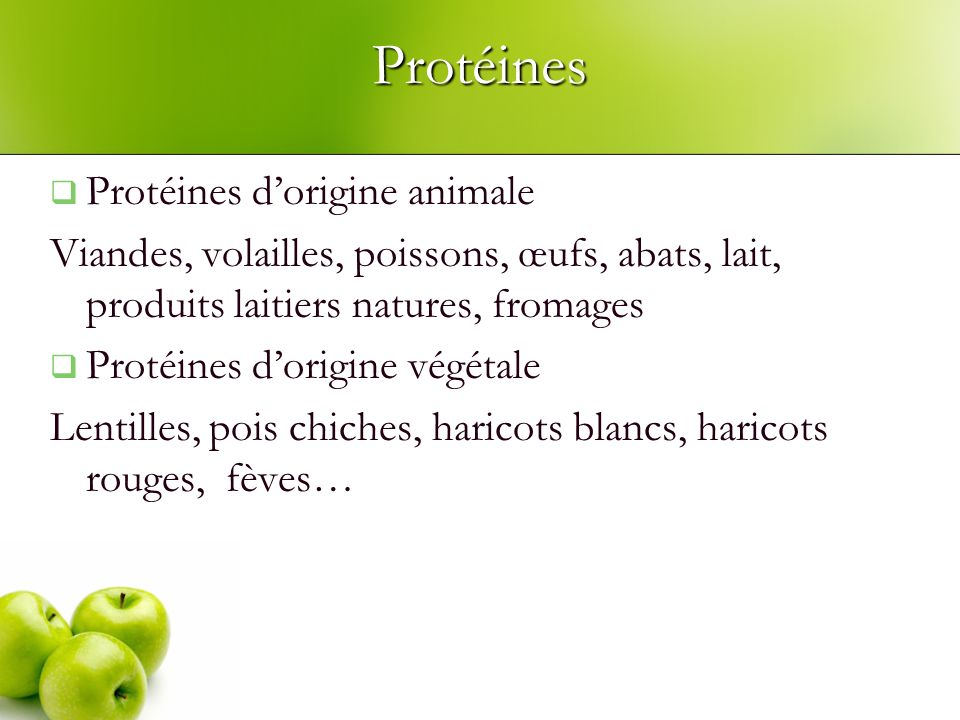 Protéines Protéines d'origine animale