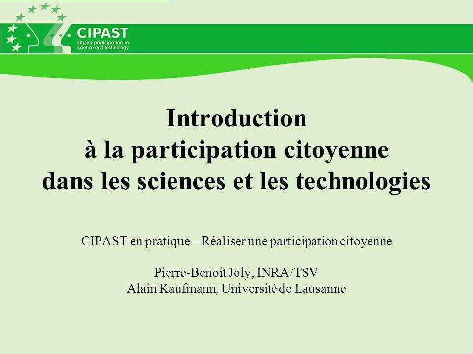Introduction à la participation citoyenne dans les sciences et les technologies