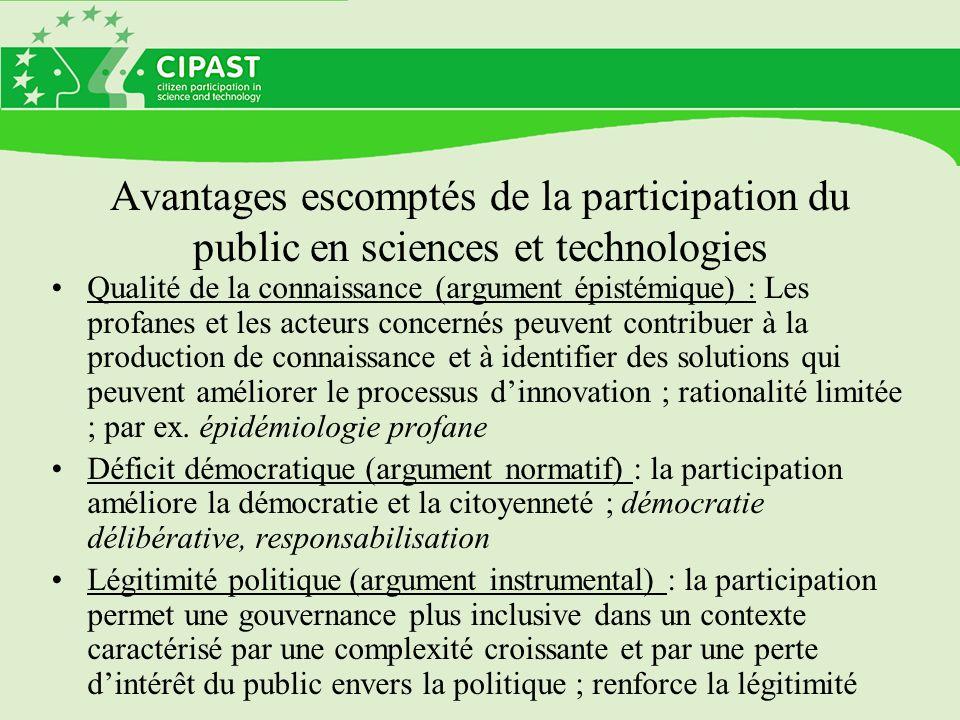 Avantages escomptés de la participation du public en sciences et technologies