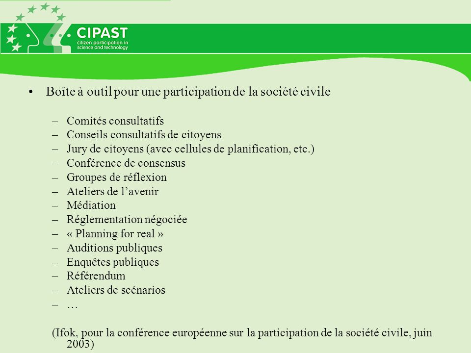 Boîte à outil pour une participation de la société civile