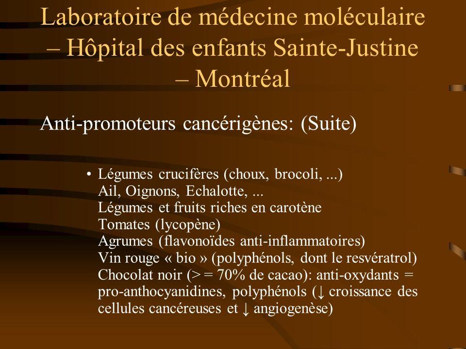 Laboratoire de médecine moléculaire – Hôpital des enfants Sainte-Justine – Montréal