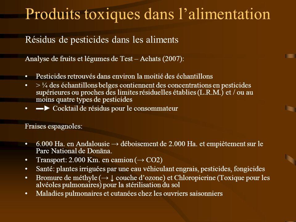 Produits toxiques dans l'alimentation