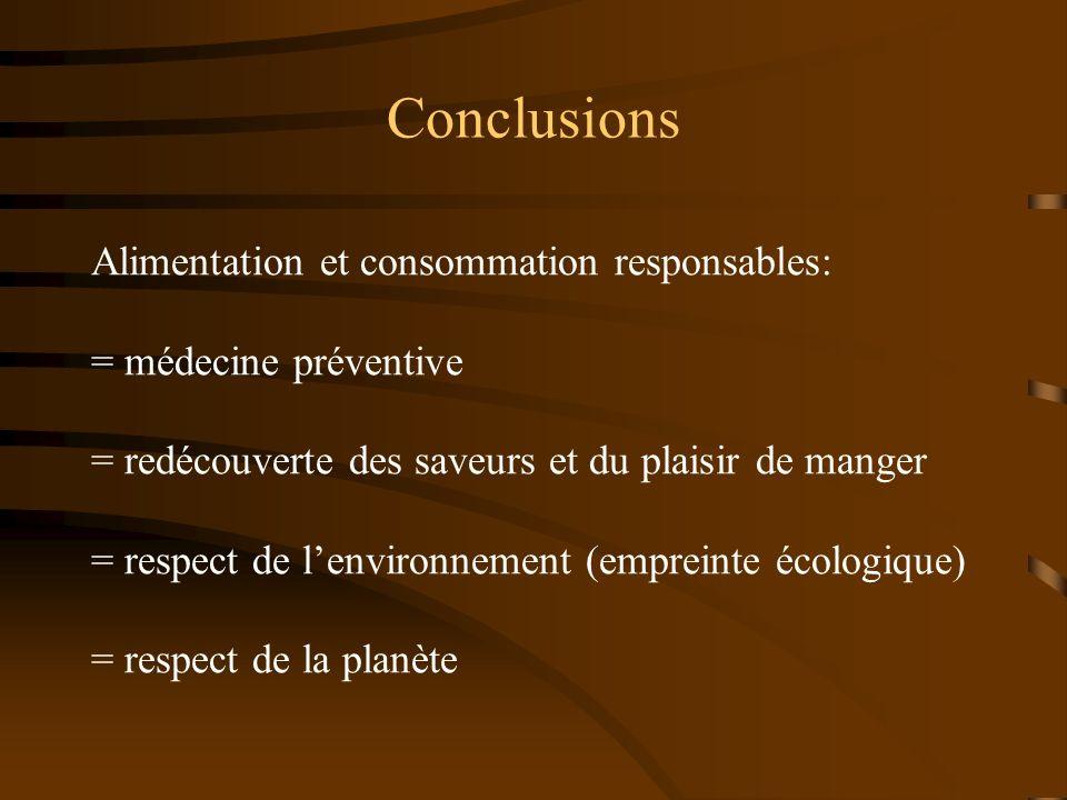 Conclusions Alimentation et consommation responsables: