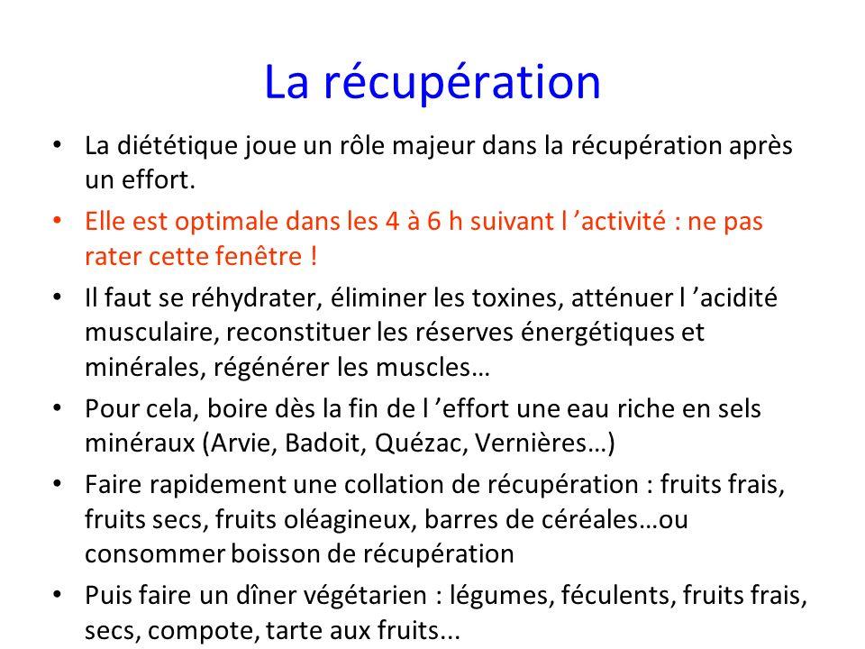 La récupération La diététique joue un rôle majeur dans la récupération après un effort.