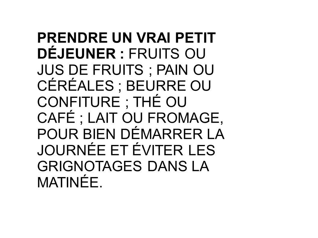 PRENDRE UN VRAI PETIT DÉJEUNER : FRUITS OU JUS DE FRUITS ; PAIN OU CÉRÉALES ; BEURRE OU CONFITURE ; THÉ OU CAFÉ ; LAIT OU FROMAGE, POUR BIEN DÉMARRER LA JOURNÉE ET ÉVITER LES GRIGNOTAGES DANS LA MATINÉE.