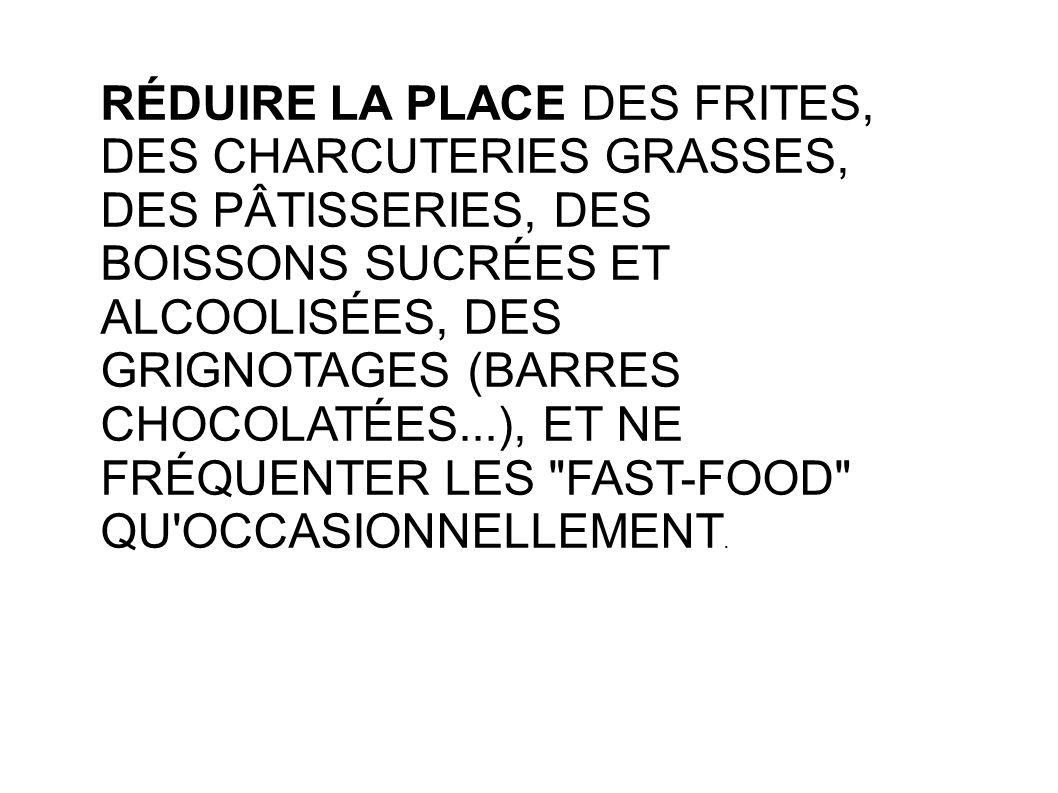 RÉDUIRE LA PLACE DES FRITES, DES CHARCUTERIES GRASSES, DES PÂTISSERIES, DES BOISSONS SUCRÉES ET ALCOOLISÉES, DES GRIGNOTAGES (BARRES CHOCOLATÉES...), ET NE FRÉQUENTER LES FAST-FOOD QU OCCASIONNELLEMENT.