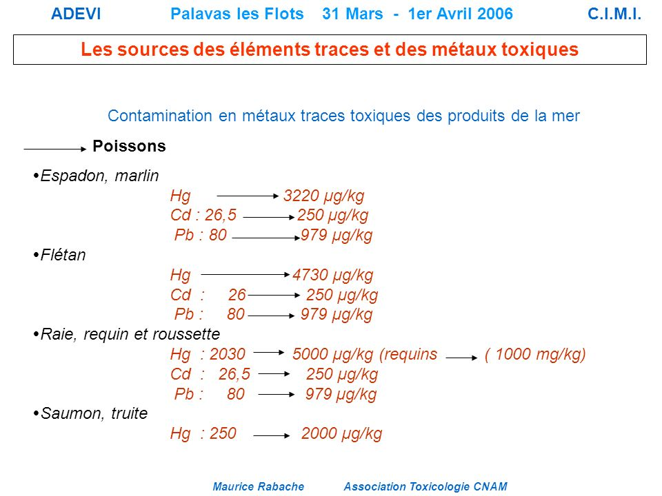 Contamination en métaux traces toxiques des produits de la mer