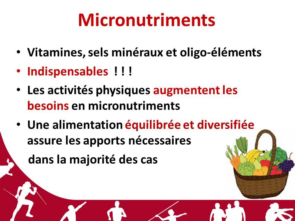 Micronutriments Vitamines, sels minéraux et oligo-éléments