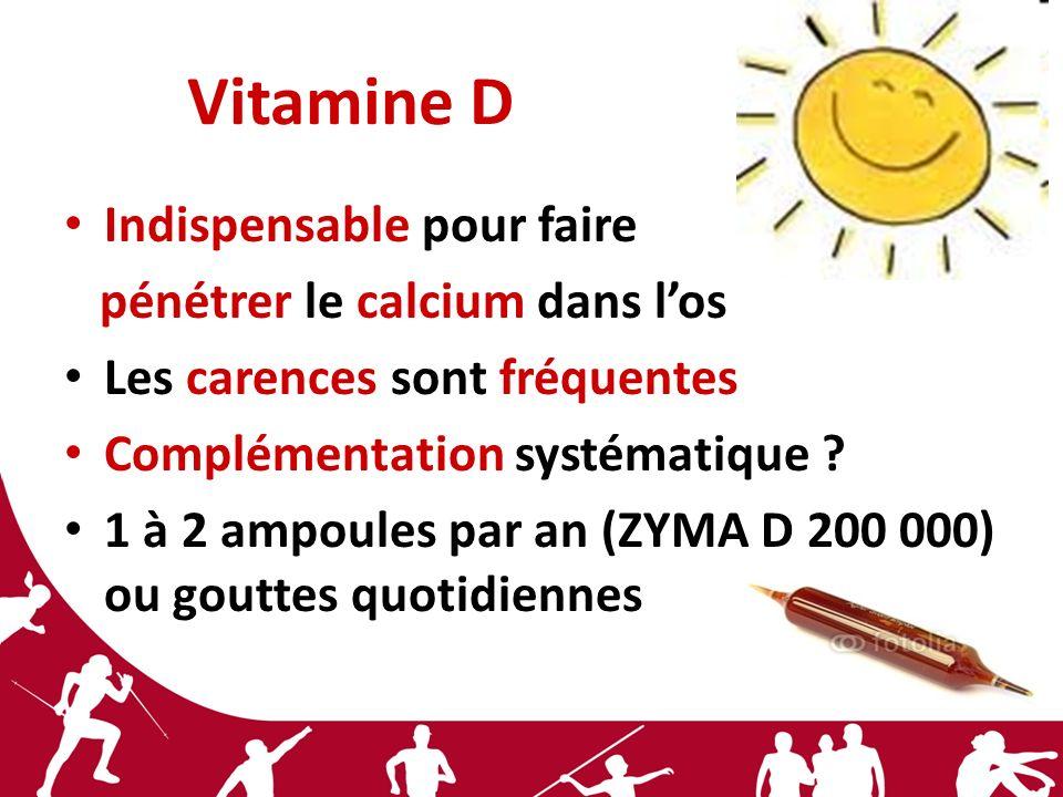 Vitamine D Indispensable pour faire pénétrer le calcium dans l'os