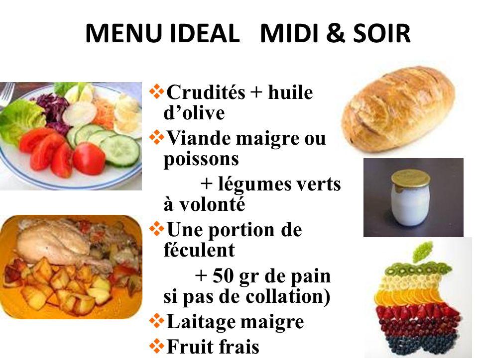 MENU IDEAL MIDI & SOIR Crudités + huile d'olive