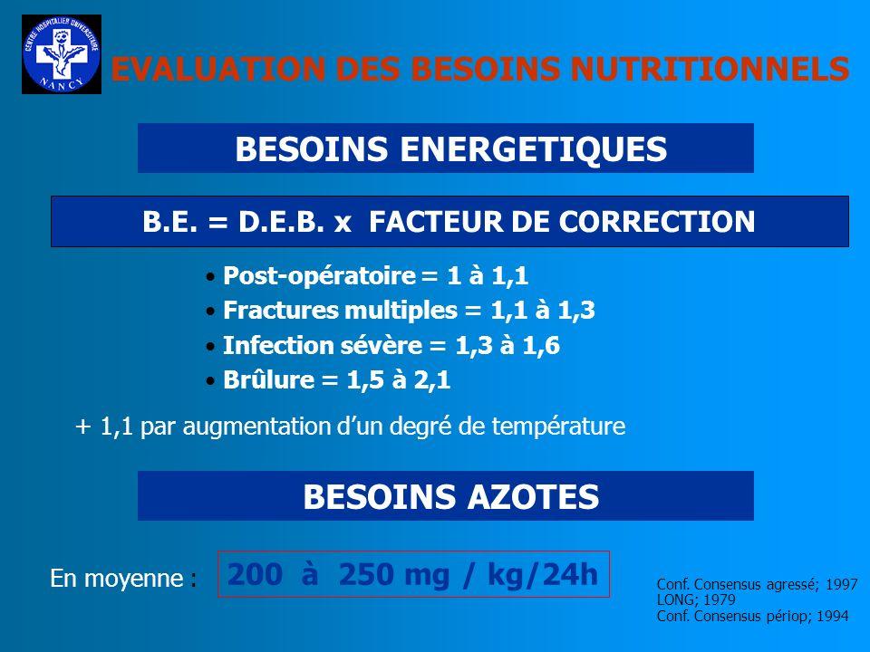 B.E. = D.E.B. x FACTEUR DE CORRECTION