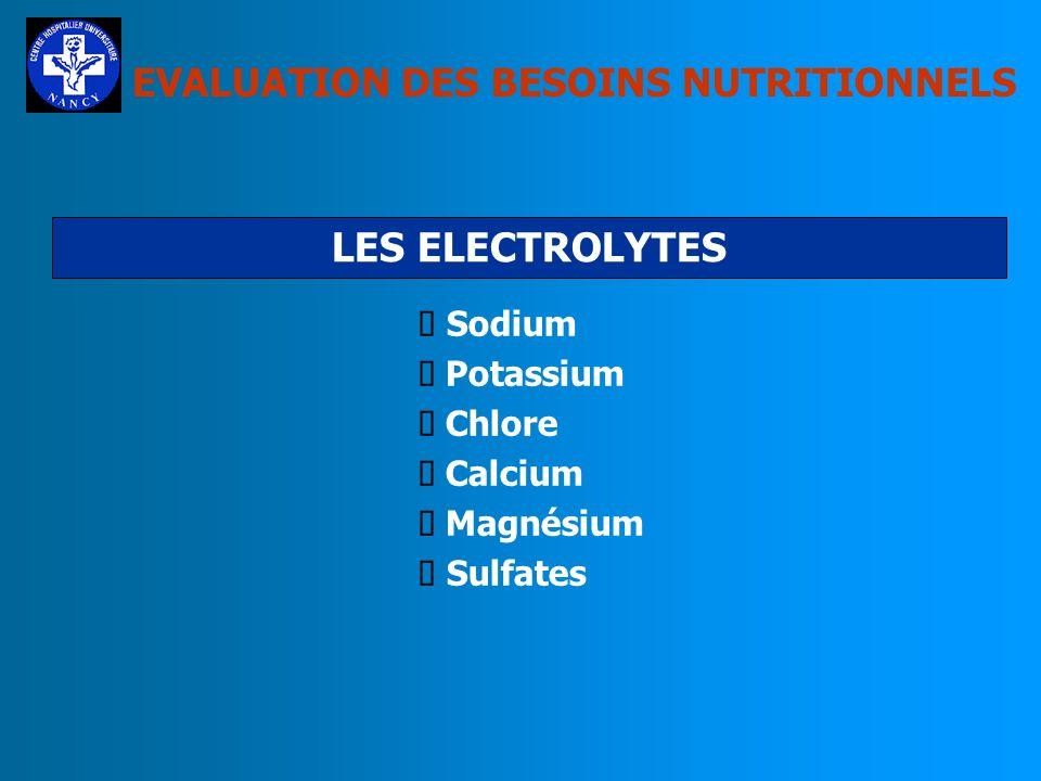 LES ELECTROLYTES EVALUATION DES BESOINS NUTRITIONNELS Sodium Potassium