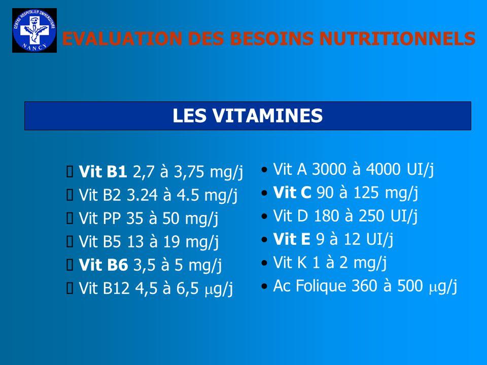 LES VITAMINES EVALUATION DES BESOINS NUTRITIONNELS