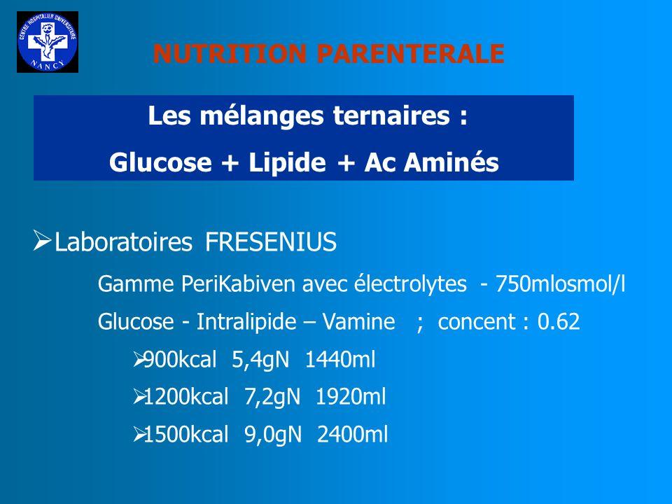 Les mélanges ternaires : Glucose + Lipide + Ac Aminés