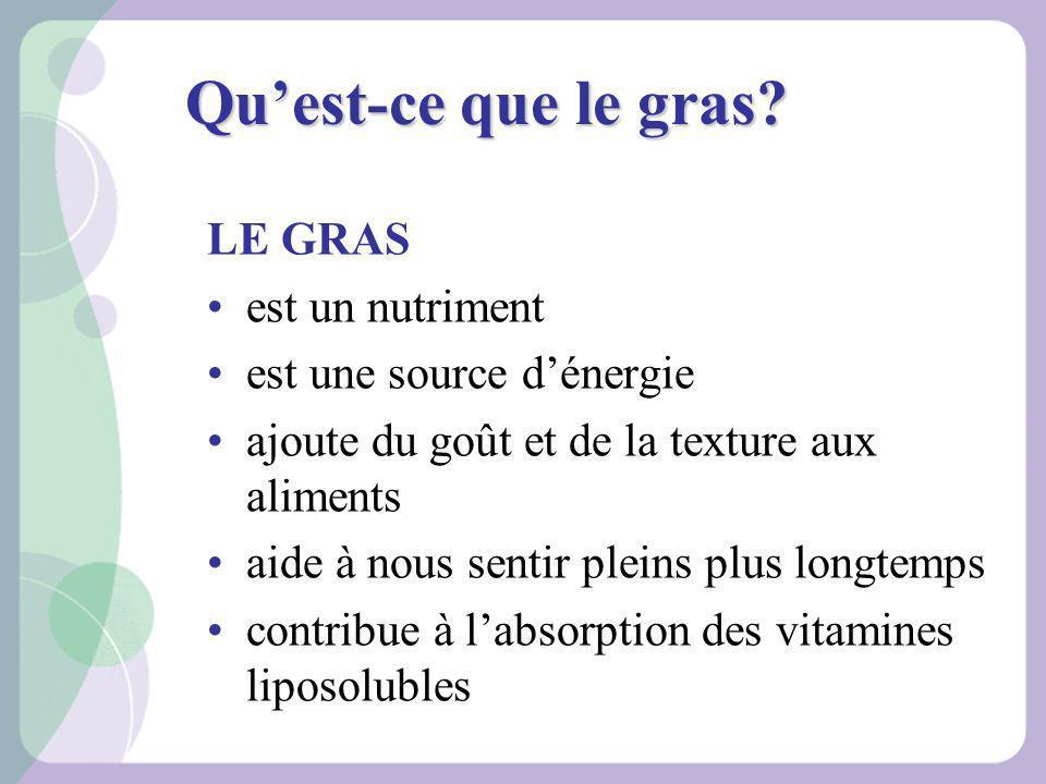 Qu'est-ce que le gras LE GRAS est un nutriment