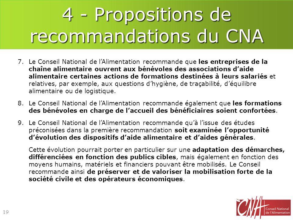 4 - Propositions de recommandations du CNA
