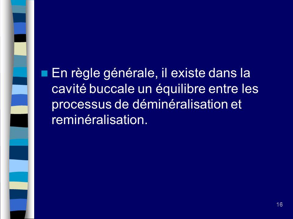En règle générale, il existe dans la cavité buccale un équilibre entre les processus de déminéralisation et reminéralisation.