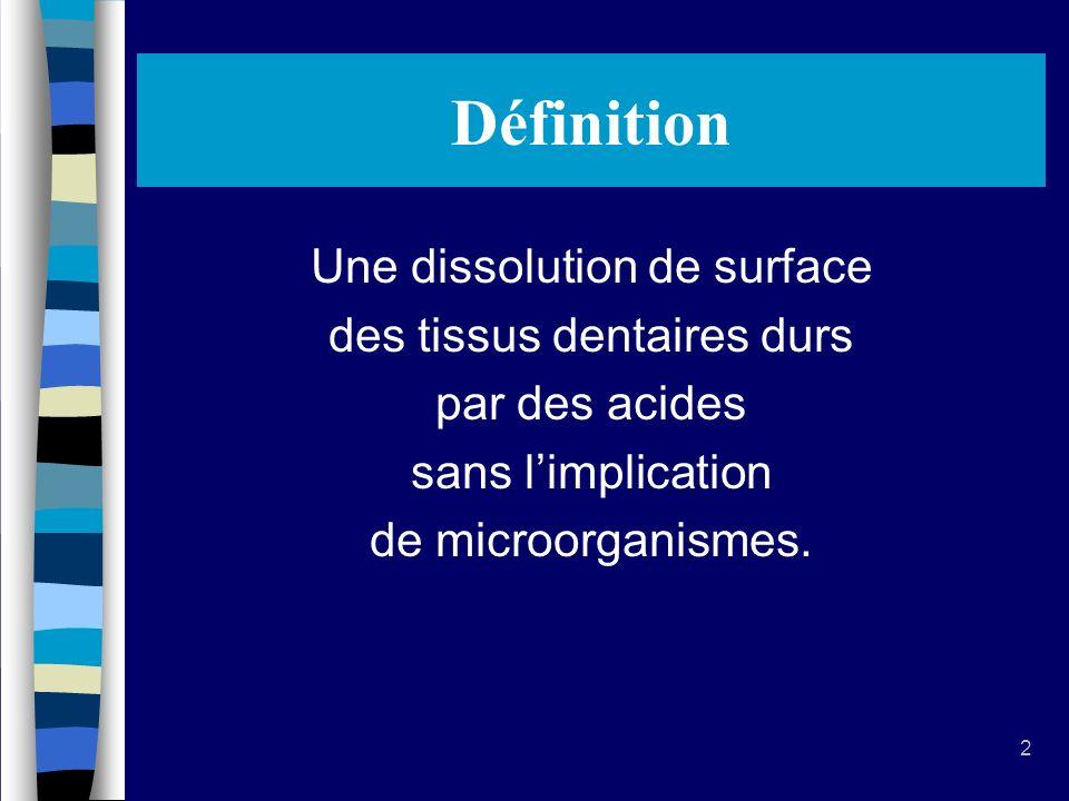 Définition Une dissolution de surface des tissus dentaires durs