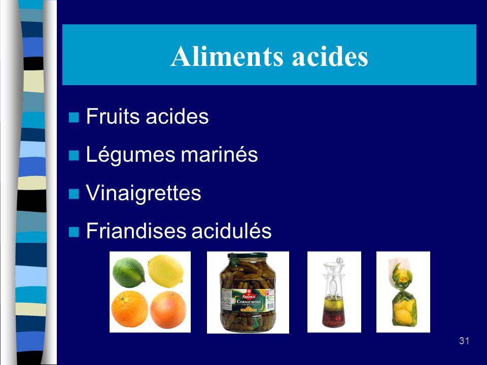 Aliments acides Fruits acides Légumes marinés Vinaigrettes