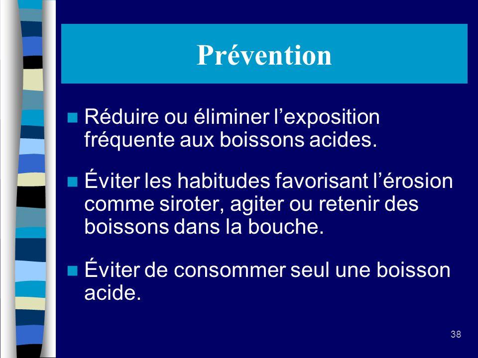 Prévention Réduire ou éliminer l'exposition fréquente aux boissons acides.