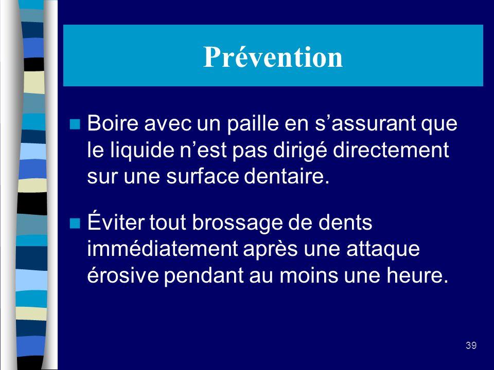 Prévention Boire avec un paille en s'assurant que le liquide n'est pas dirigé directement sur une surface dentaire.
