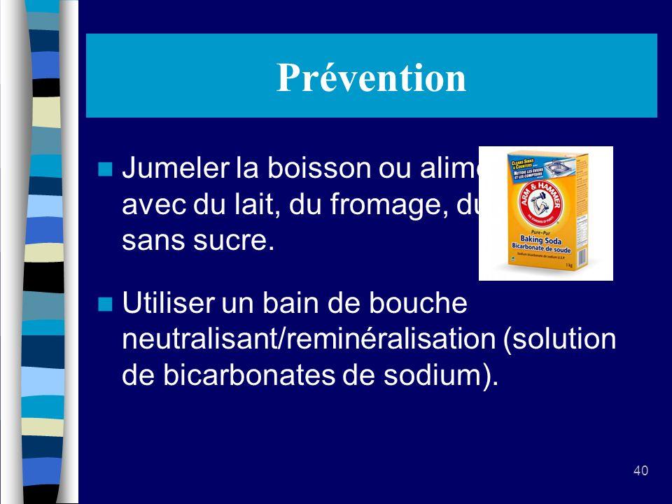 Prévention Jumeler la boisson ou aliment acide avec du lait, du fromage, du yogourt sans sucre.