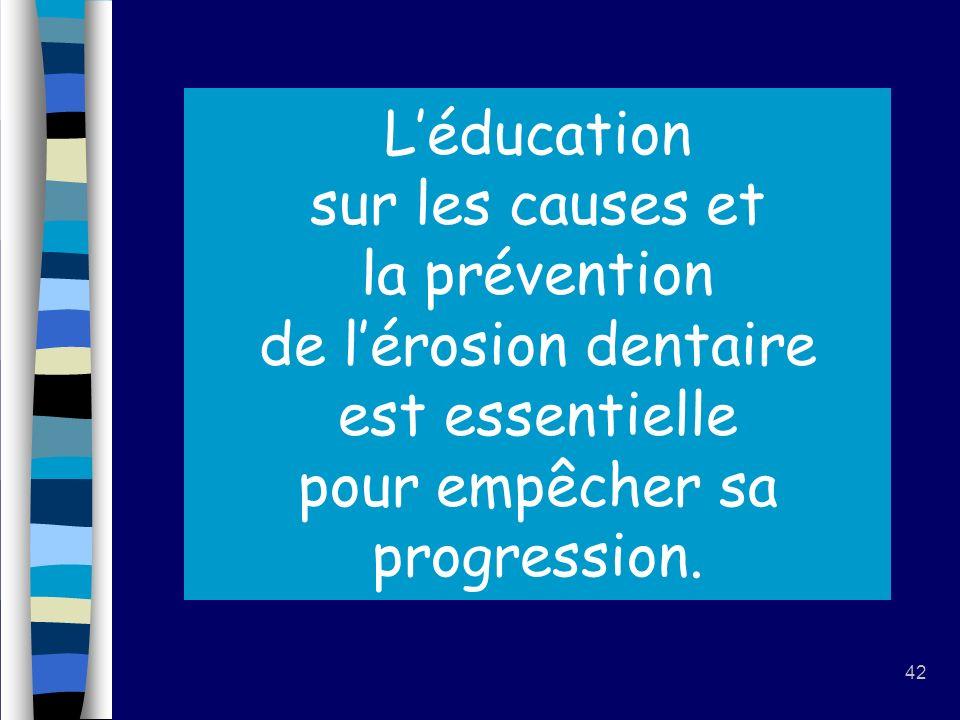 L'éducation sur les causes et la prévention de l'érosion dentaire est essentielle pour empêcher sa progression.