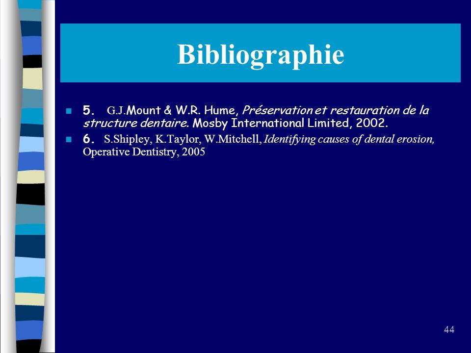 Bibliographie 5. G.J.Mount & W.R. Hume, Préservation et restauration de la structure dentaire. Mosby International Limited, 2002.