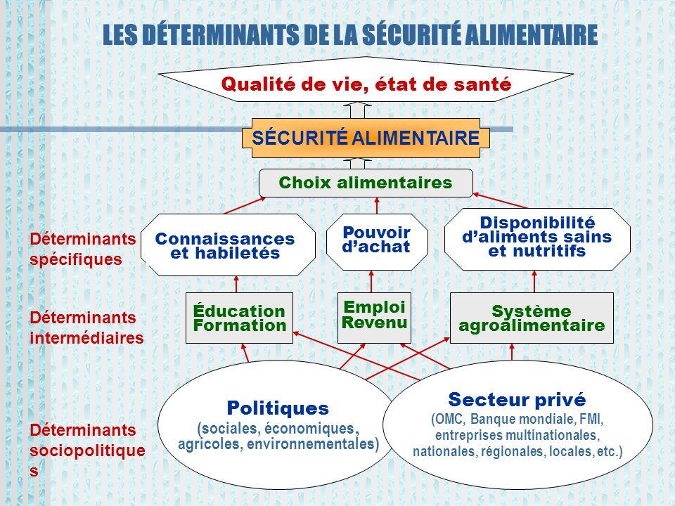 LES DÉTERMINANTS DE LA SÉCURITÉ ALIMENTAIRE