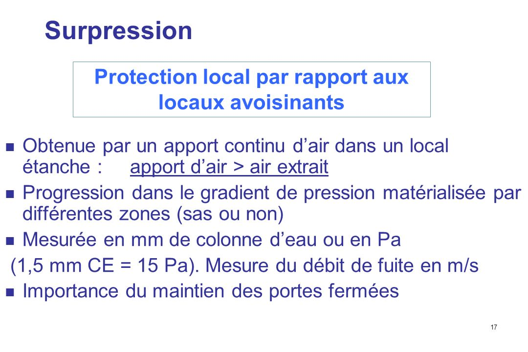 Protection local par rapport aux locaux avoisinants