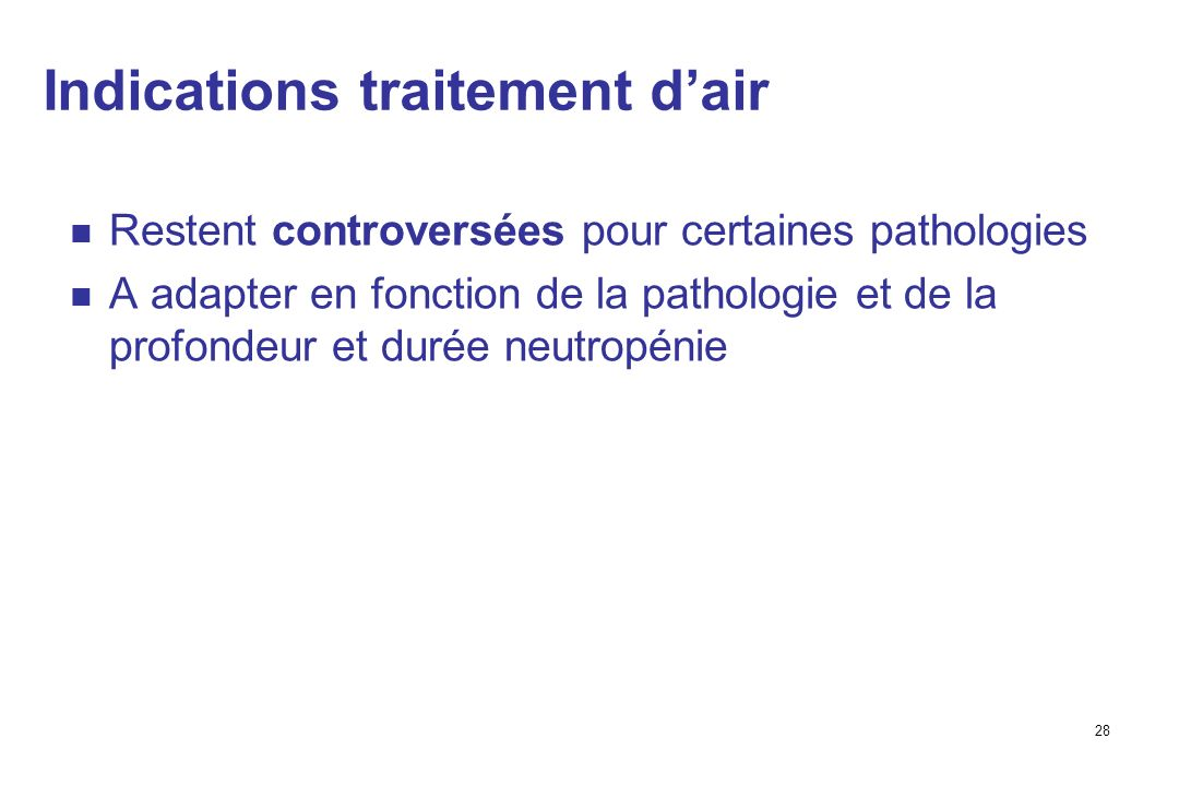 Indications traitement d'air