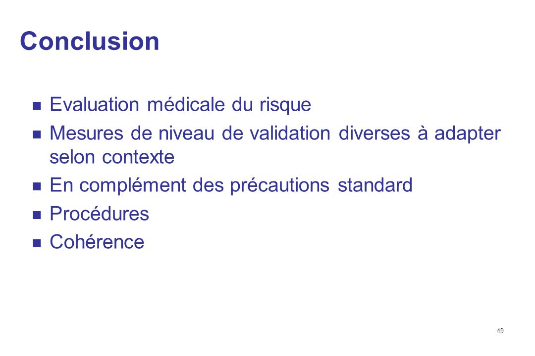Conclusion Evaluation médicale du risque