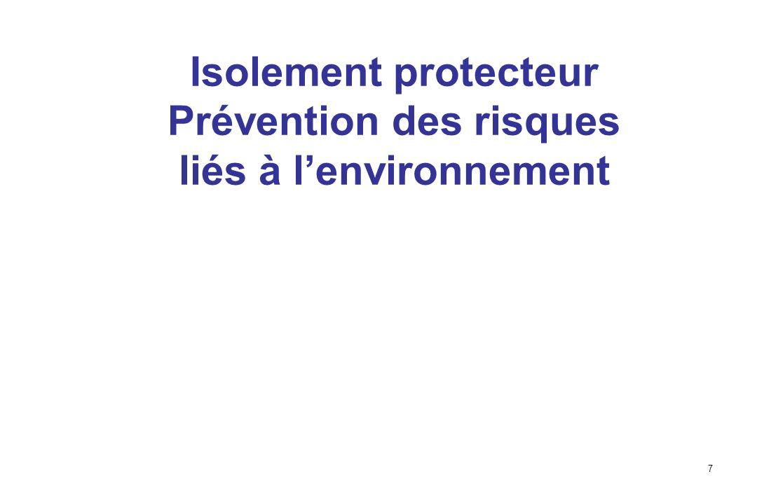 Isolement protecteur Prévention des risques liés à l'environnement