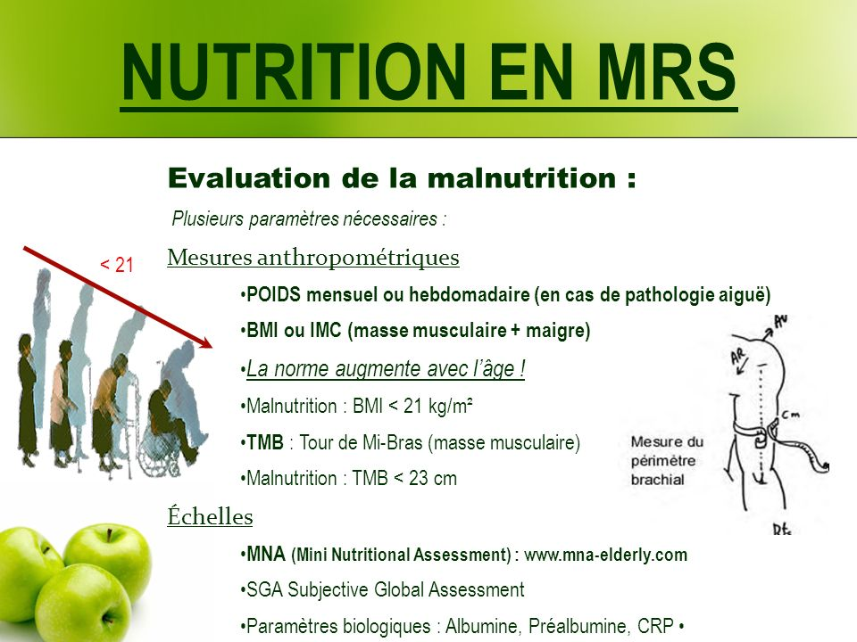NUTRITION EN MRS Evaluation de la malnutrition :