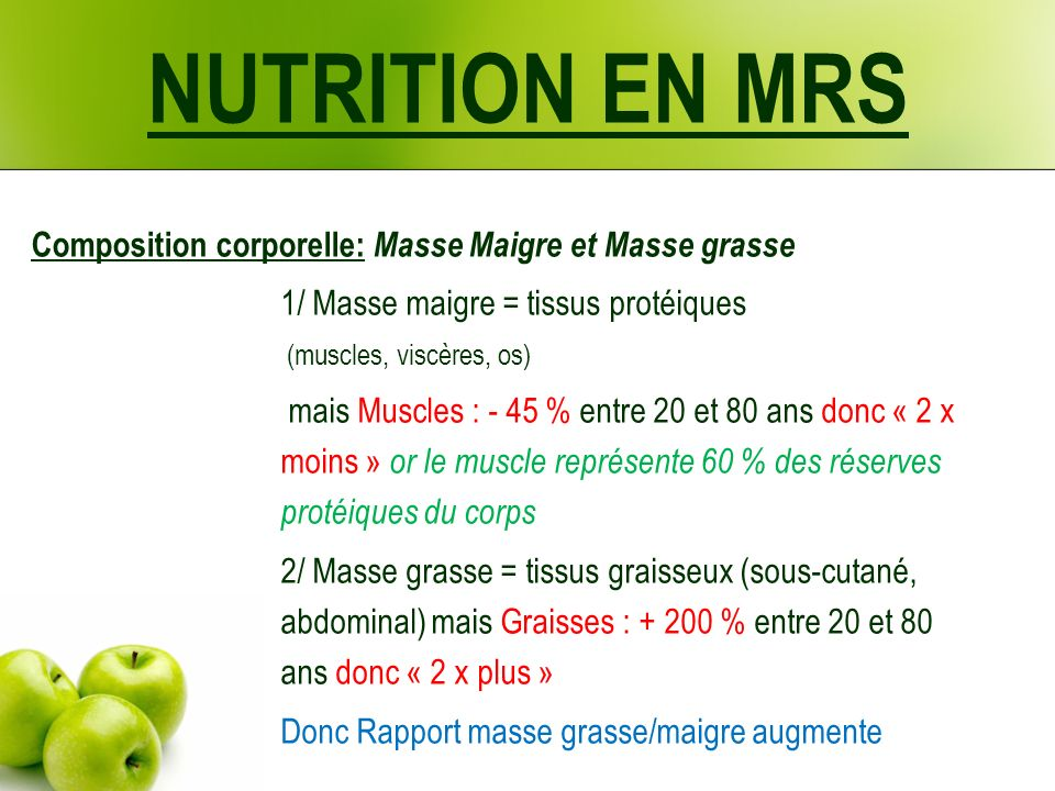 NUTRITION EN MRS Composition corporelle: Masse Maigre et Masse grasse